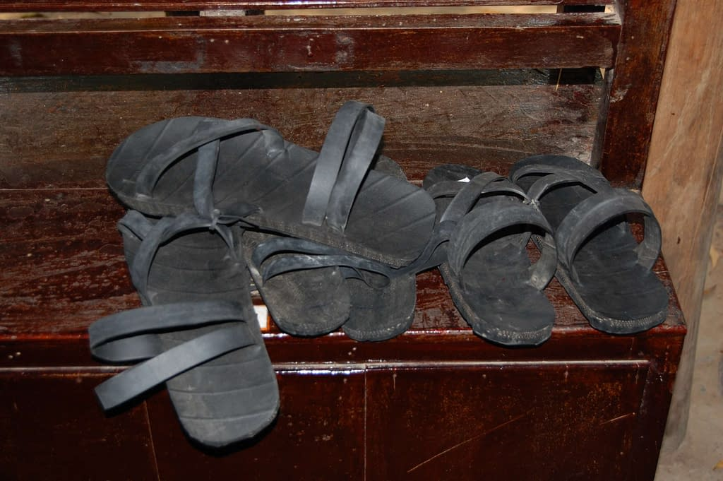 Sandals made from recycled car tires