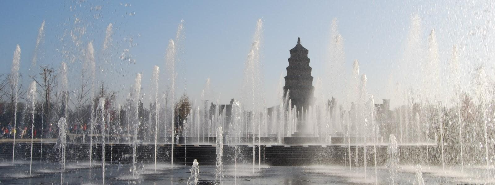 Wild Goose Pagoda Fountains Xian China